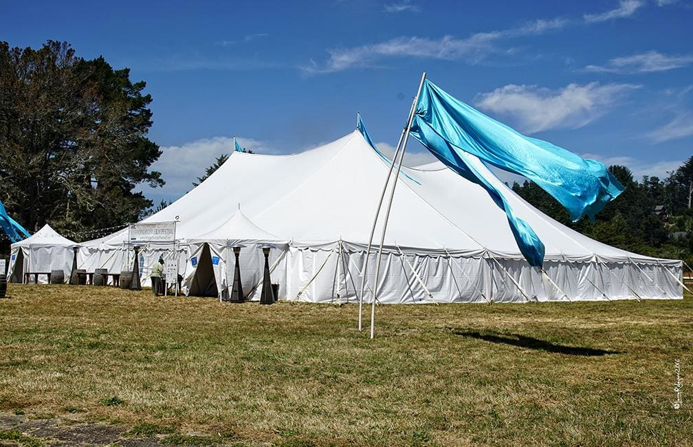 The Festival Tent, which seats up to 400 people, was at capacity for many of the most popular screenings at the Mendocino Film Festival. Photo courtesy of Larry Wagner.