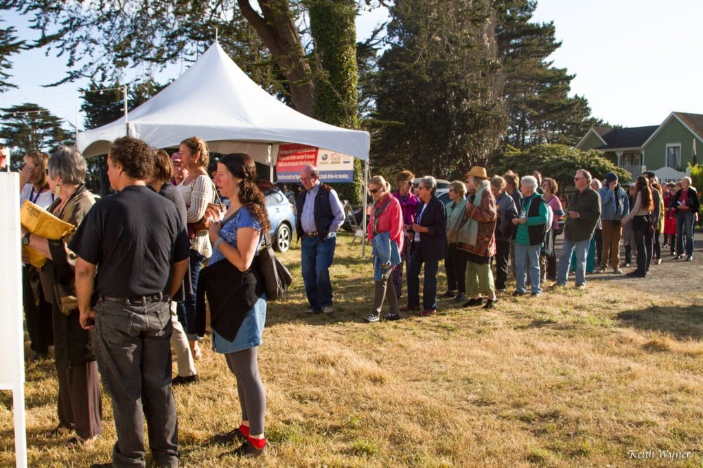 The audience lines up outside the Festival Tent ahead of a screening at the Mendocino Film Festival. Photo courtesy of Keith Wyner.